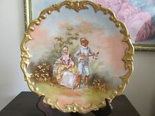L R L Limoges France Hand Painted Scenic Portrait Charger Plate Signed Valentin