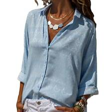 Women Long Sleeve V Neck Button Down T-Shirt Casual Loose Blouse Basic Tee Tops