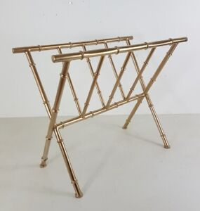 Magazine Rack Metal Golden, Painted, Style Bamboo