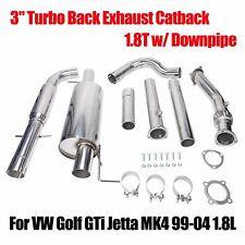 """FOR VW GOLF/JETTAMK4 1.8T 3""""TIP STAINLESS TURBO CATBACK+DOWNPIPE EXHAUST MUFFLER"""