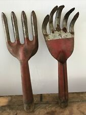 Vintage Red/Silver Metal Hand Garden Tools Claw and Fork Partial Wood Handle 12""