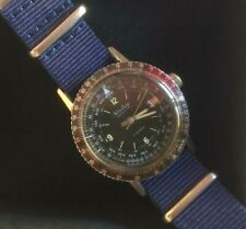 Ollech & Wajs Rare Selectron Computer Watch 17 Jewels Red Date 3' full Serviced.