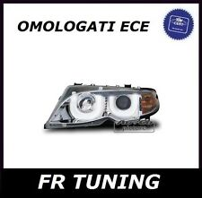 BMW SERIE 3 E46 FARI FANALI ANTERIORI 3D LED ANGEL EYES CROMATI TUNING