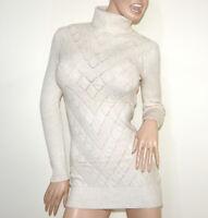 MAGLIONE LUNGO BEIGE AVORIO donna maxi pull collo alto maglia manica lunga G5