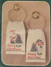 Bucilla Christmas SANTA and SNOWMAN Pair of Guest Towels Cross Stitch Kit New