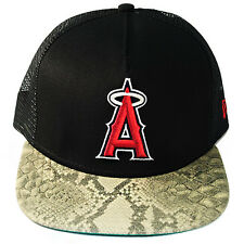 Rare New Era MLB Los Angeles Angels Trucker Strapback Hat Snake Skin Visor Cap
