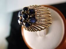 Vintage 14 Karat solid Gold & Sapphire Retro Cocktail Gold Ring Jewelry