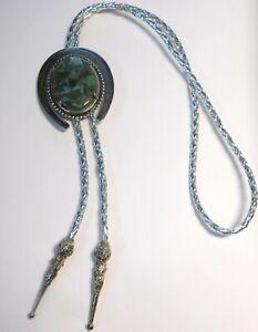 Southwestern Jasper Stone Horseshoe Metallic Woven Silver Bolo Bolero Tie