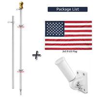 Aluminum Flagpole Adjustable Wall Mount 3X5 Ft flag Kit 6ft Telescopic Flag Pole