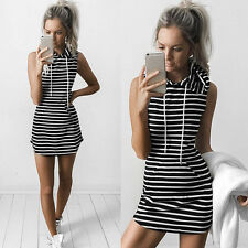 Women Sleeveless Hoodie Mini Dress Summer Casual Hooded Sweatshirt Pullover <Z