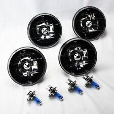 "FOUR 5.75"" 5 3/4 Round H4 Black Chrome Glass Headlight Conversion Bulbs Mercury"