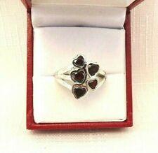 2.17ct Natural Garnet Sterling Silver Heart Cluster Ring US (8) AU (Q)