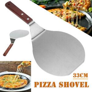 Stainless Steel Pizza Peel Shovel Paddle Pancake Oven Baking Tool Wood Handle