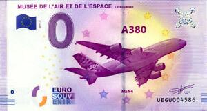 93 LE BOURGET Airbus A 380, 2017, Billet Euro Souvenir