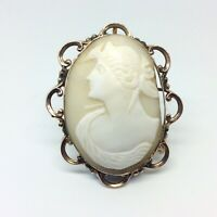 VICTORIAN ANTIQUE CARVED GODDESS PORTRAIT CAMEO 9CT GOLD MOUNT PIN BROOCH