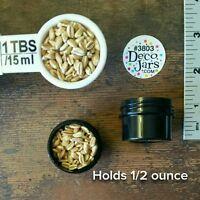 100 1/2 OZ 1Tblsp BLACK Opaque Plastic Jars Lime Green Caps DecoJars #3803