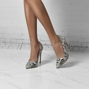 Womens Casual Striped Faux Leather Shoes Super High Stiletto Heel Pointed Pumps