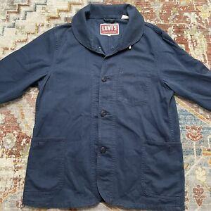 Levi's Vintage Clothing LVC 1940s Navy Shawl Collar Sack Jacket Size M RRL