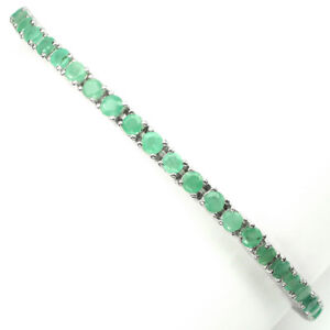 Round Cut 3mm Top Rich Green Emerald 925 Sterling Silver Bracelet 10inches