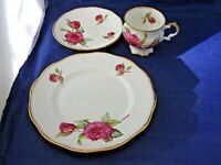 VINTAGE ROYAL CREST TEA CUP, SAUCER AND SANDWICH PLATE w CABBAGE ROSE - ENGLAND