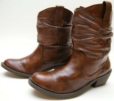WOMENS AMERICAN EAGLE SHORT BROWN SLOUCH FASHION ANKLE COWBOY WESTERN BOOTS 5 M