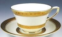 THE BEST ROYAL WORCESTER CORONET FOOTED CUP & SAUCER SET RAISED GOLD ENCRUSTED
