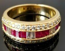 Beautiful Red Ruby VS Diamond 18k yellow gold ring/band
