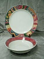 Sakura MALAGA Sue Zipkin Chop Plate & Vegetable Serving Bowl 1995 Stoneware EC