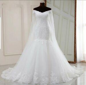 UK New White off Shoulder Mermaid Train Beaded Lace Wedding Dresses Size 8 ot 10