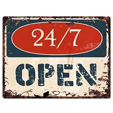 PP1357 OPEN 24/7 Plate Rustic Chic Sign Home Room Store Decor Gift