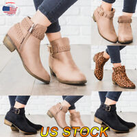 Chic Women's Low Mid Block Heel Ankle Boots Ladies Chunky Casual Booties Shoes