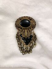 Black Stones Gold-colored Brooch With
