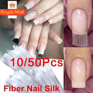 10/50Pcs Nail Art Non-woven Silk Fiberglass Gel Tips Extension Fiber Kit UK