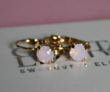 Gold Plated Earrings made with 6mm Rose Water Opal Swarovski Crystal Element