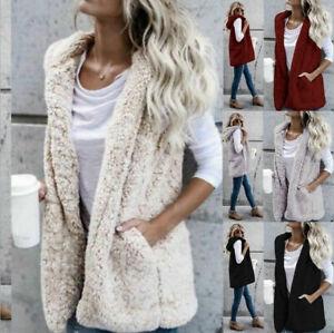 Womens Faux Fur Gilet Sleeveless Jacket Coat Warmer Body Waistcoat Outwear Vest