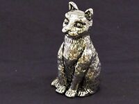 Cat Sitting English Pewter Pin Cushion by A E Williams Birmingham UK Boxed