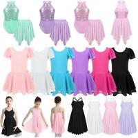 Child Girls Ballet Dance Dress Kids Lyrical Leotard Tutu Skirt Dancewear Costume