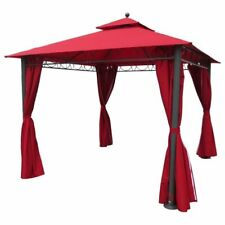 Pemberly Row Square Gazebo with Drapes in Ruby Red
