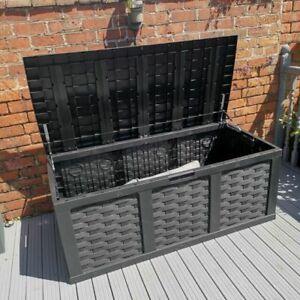 Plastic Garden Storage Box XXL Size 400 Litres Waterproof Sit On Lid Piston Lift