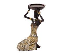 Dekofigur Afrikanerin Mit Schale Teelichthalter Kerzenhalter Figur Afrika Kniend
