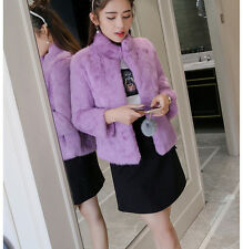 Natural rabbit fur coat women fashion short style jacket ladies warm winter