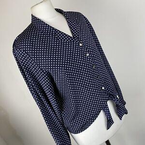 Vintage Windsmoor Long Sleeved Blue Geometric Blouse Size 10