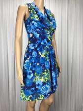 ** PORTMANS ** AS NEW * Sz 6 Blue Green Floral Occasion Cowl Neck Dress - (B200)
