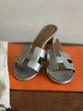 Hermes Oasis Oran Mettalic Sandals Slippers 37.5 Uk 4.5