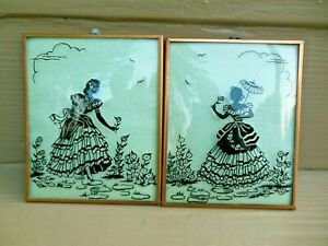 Vintage PAIR VICTORIAN LADIES SILHOUETTE BUBBLE GLASS REVERSED PAINTING PICTURE
