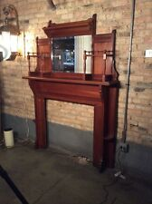 Antique 2-Piece Cherry Mantel w Bevelled Glass Mirror and Spindle Accents #7921