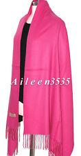 New 4-Ply 70% Pashmina & 30% Silk Pure Shawl~Hot. Pink