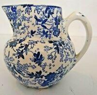 Blue Flowered Pottery Ceramic Small Creamer Pitcher Cute Little Belgium 3'' H