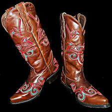 Pecos Belle Hand Made Brown Cowboy Boots with Turquoise Red Inlays 7B Black Star