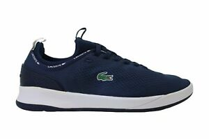 Lacoste Mens lt spirit 2.0 119 1 Fabric Low Top Lace Up, Navy/White, Size 9.5 tL